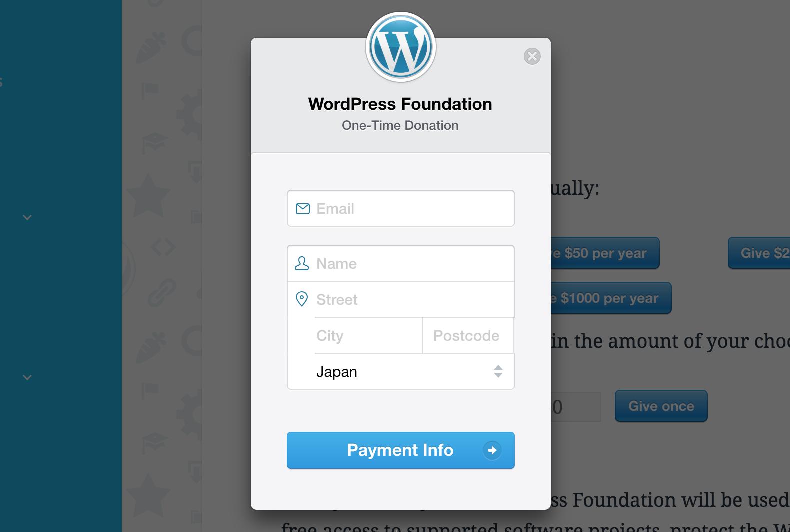 WordPress Foundation の寄付情報入力画面